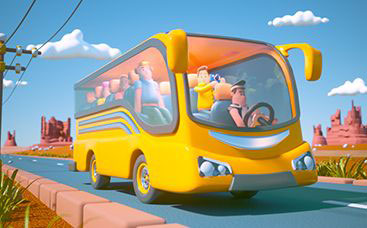 Animation de logo - Tour en bus 3D