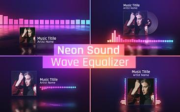 Schallwellen-Equalizer in Neonfarben