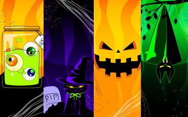 Dikey Cadılar Bayramı Animasyon Davetiyesi
