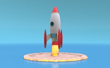 3D Rocket Launch Logo