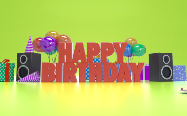 Happy Birthday Greeting 3D Video Card With Horizontal Photo Holder