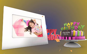 Happy birthday greeting 3d video card with horizontal photo holder happy birthday greeting 3d video card m4hsunfo