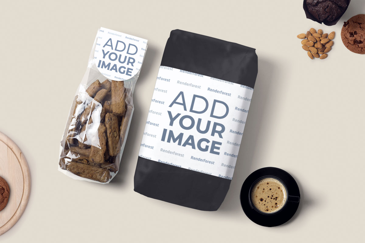 Paketlenmiş Fırın Ürünleri ve Bir Fincan Kahve