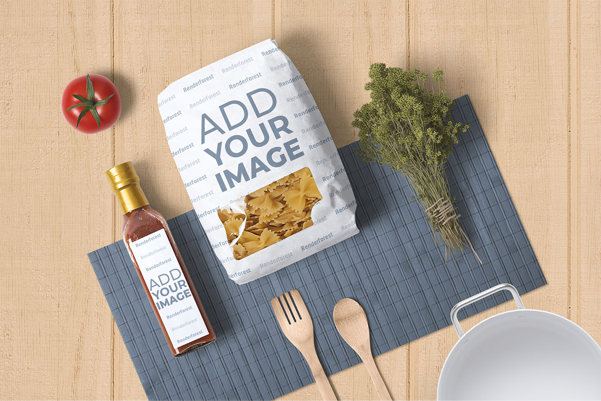 Pasta Package, a Sauce Bottle, and Food Elements