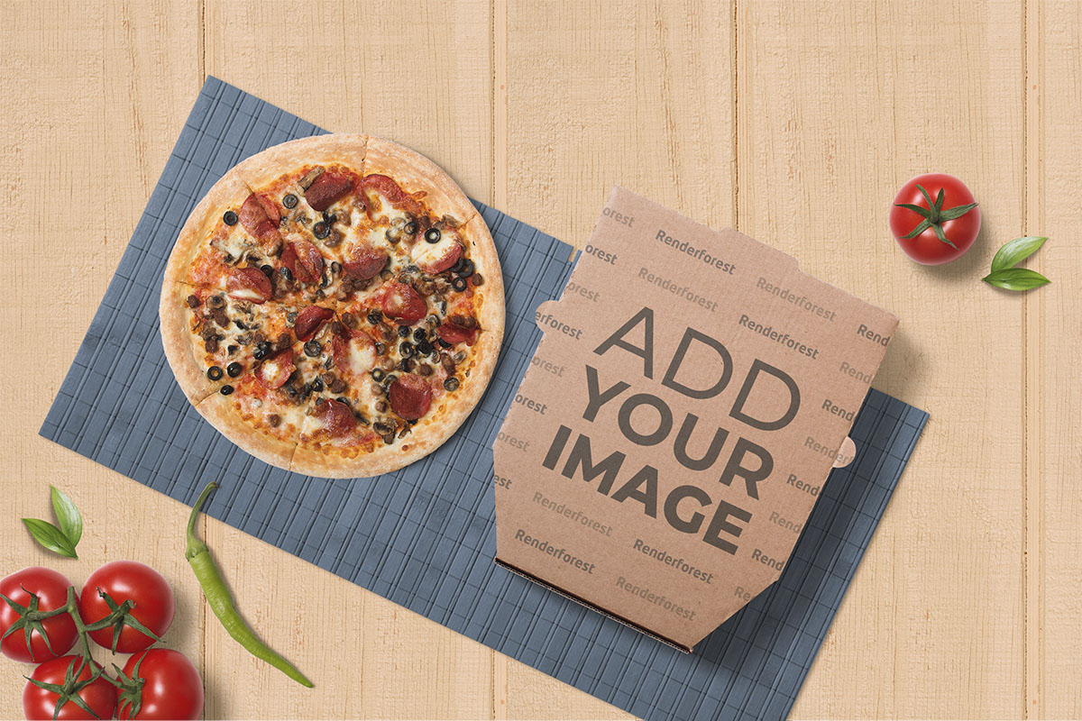 Pizza with a Cardboard Box on a Wooden Background