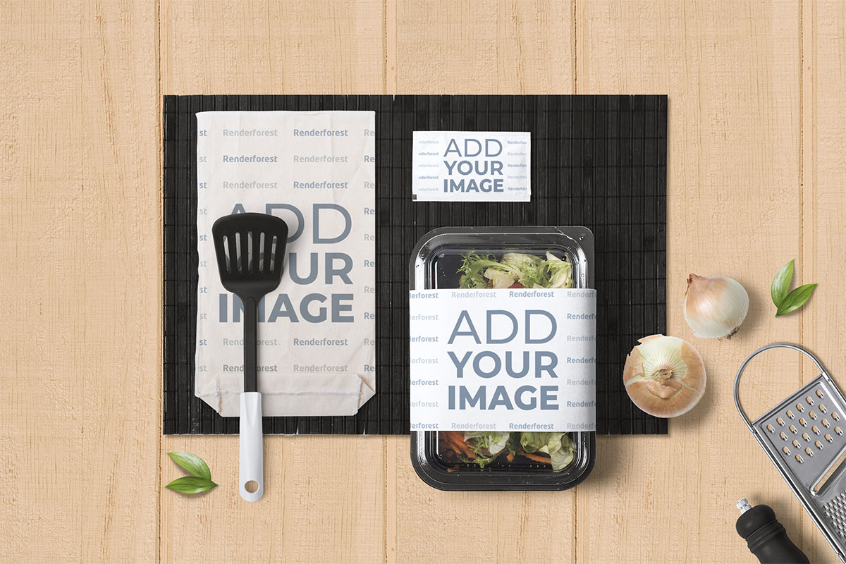 Italian Food Packaging on a Wooden Background