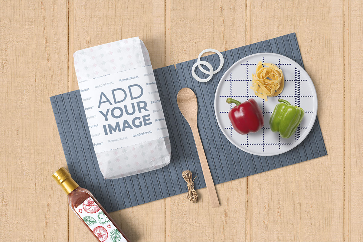 Flour Package with a Cuisine Set on a Wooden Background