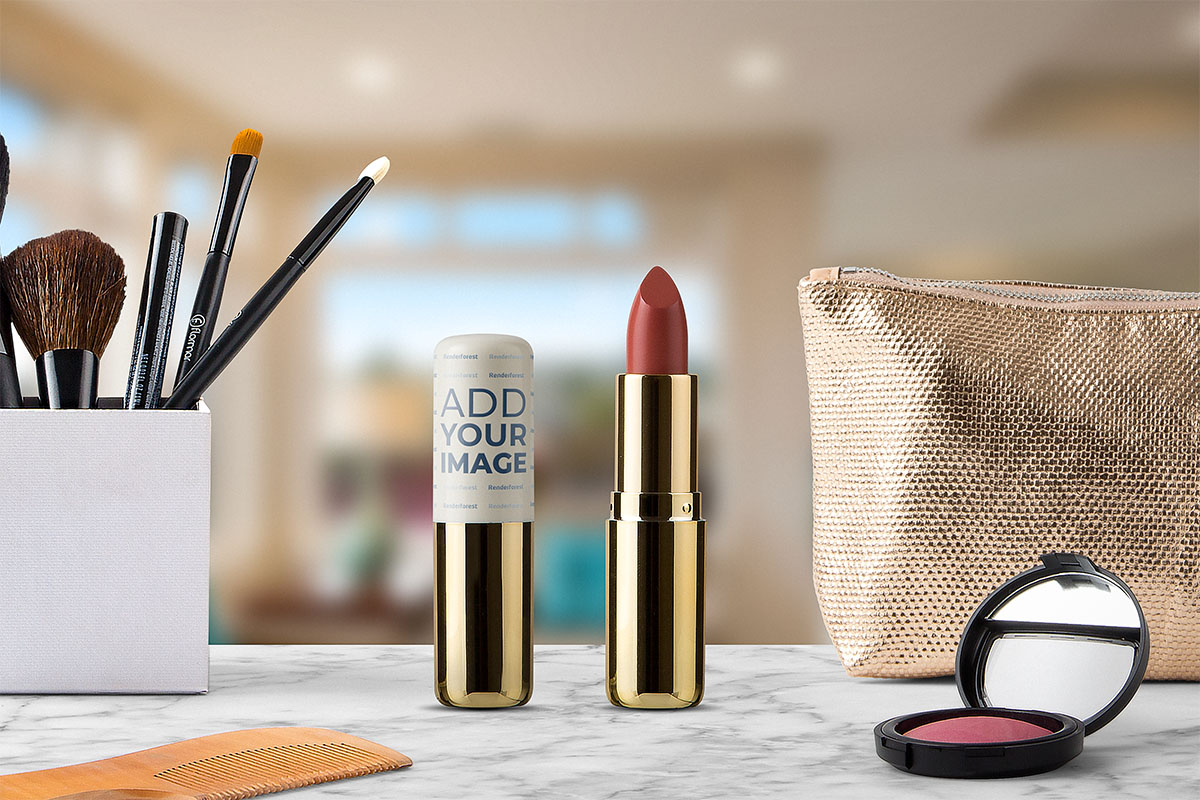 Open and Closed Lipsticks with Makeup Products