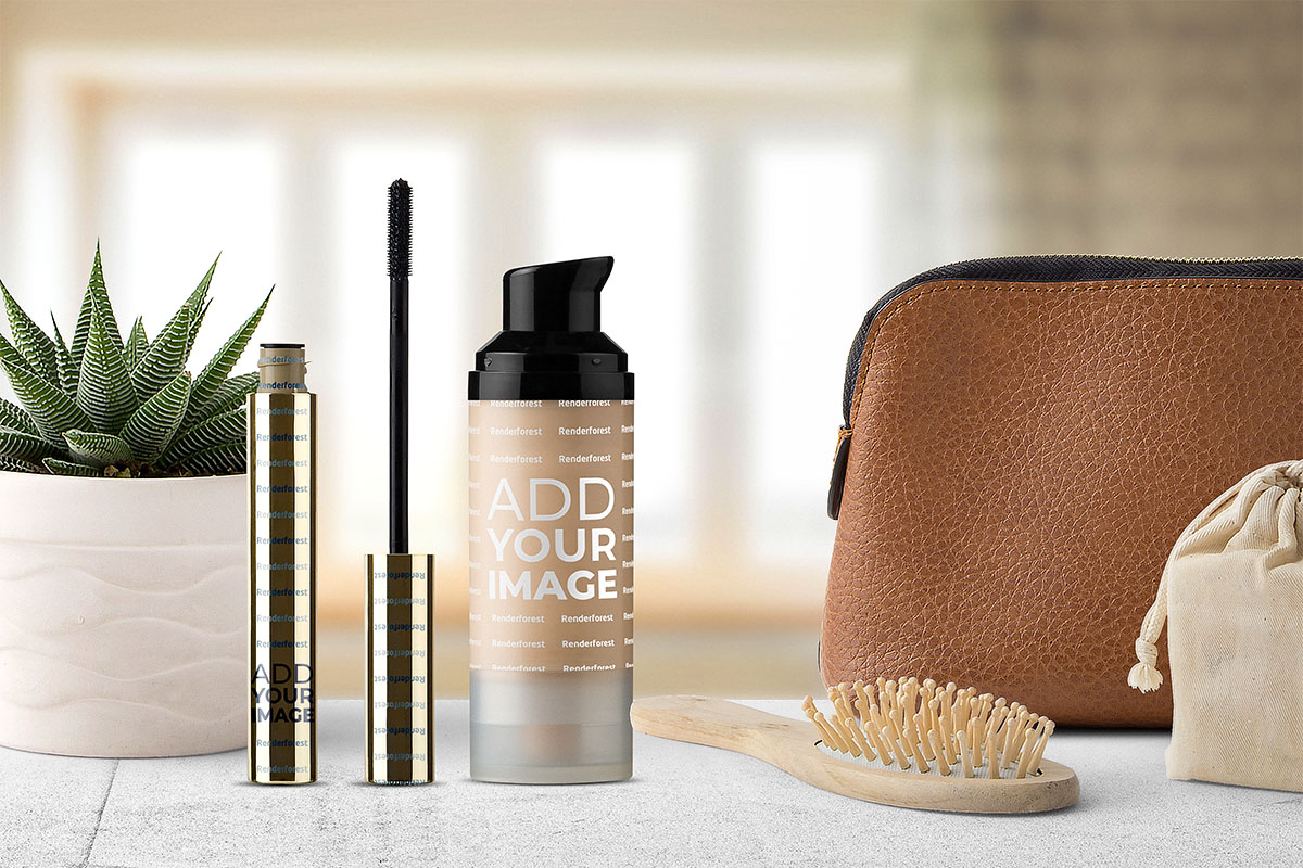 Foundation Cream, Mascara, and a Cosmetic Bag