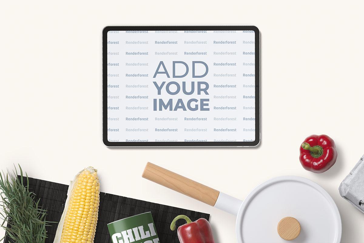 料理の背景に横方向で見るiPad Pro