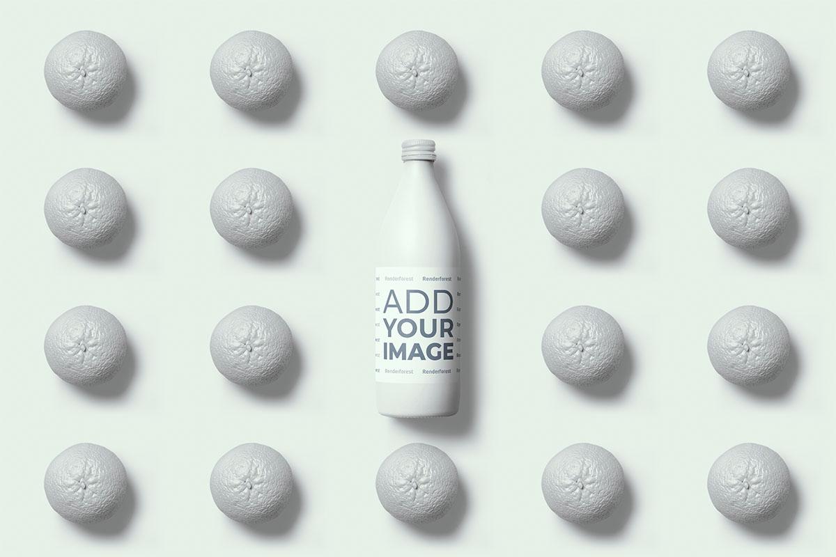 Бутылка Сока на Апельсиновом Поп-Арт Фоне