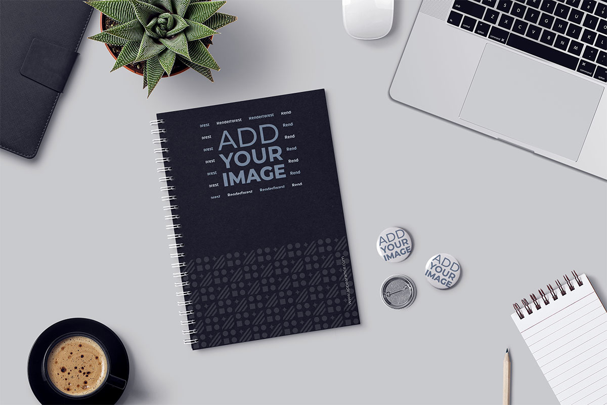 Notepads, Pin Buttons, and Office Supplies on a Desk