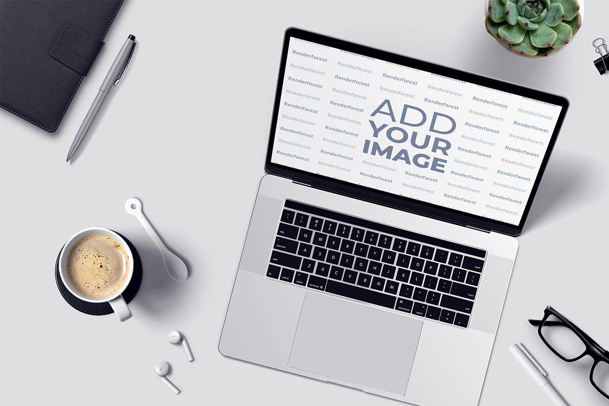 Espaço de trabalho moderno com laptop