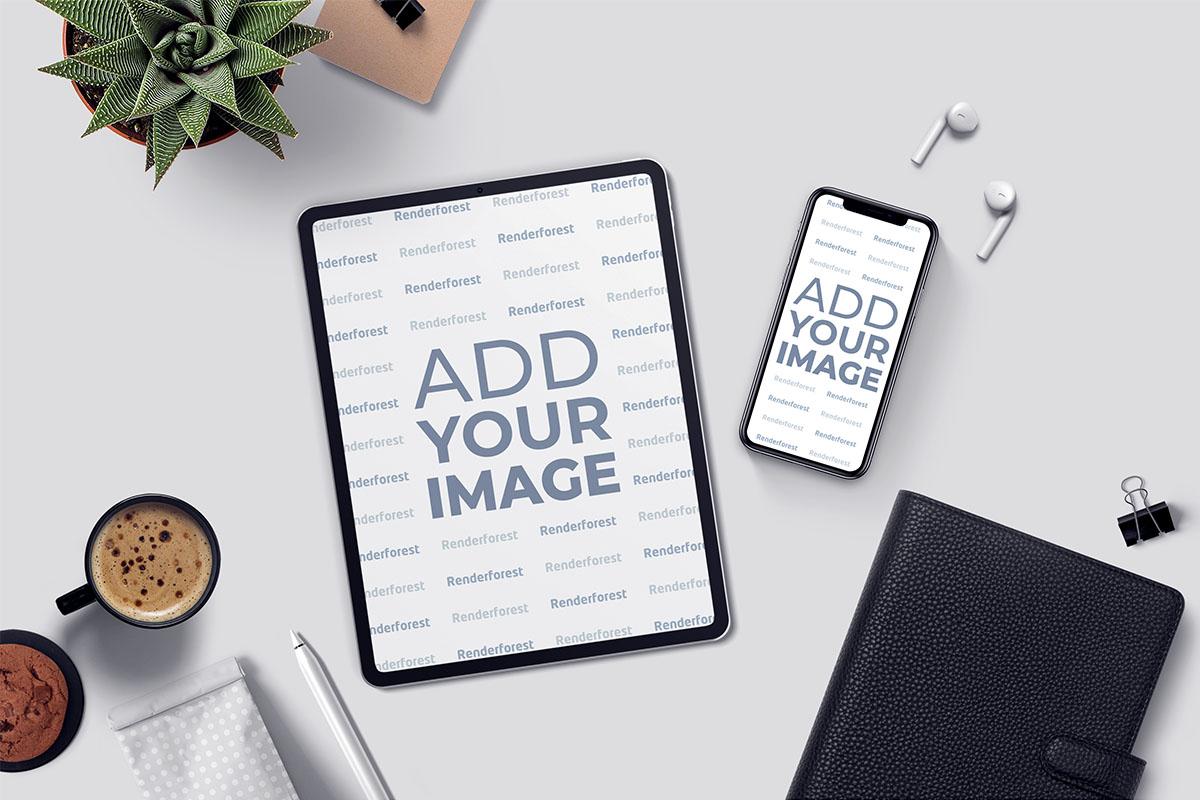 iPad, iPhone y AirPods sobre un escritorio