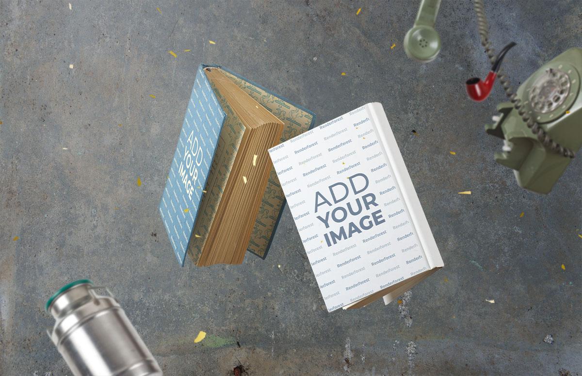 飛翔の2つの厚い本