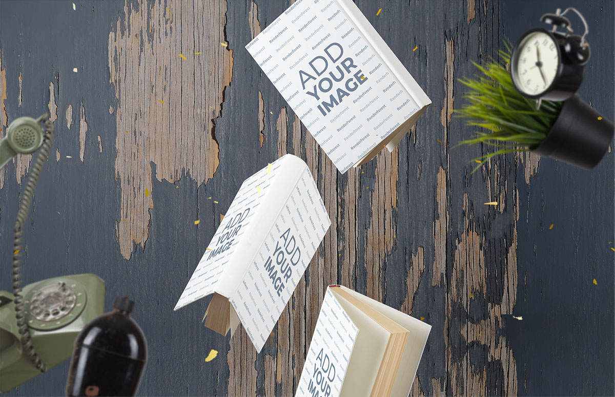 飛翔のハードカバーの本と骨董品