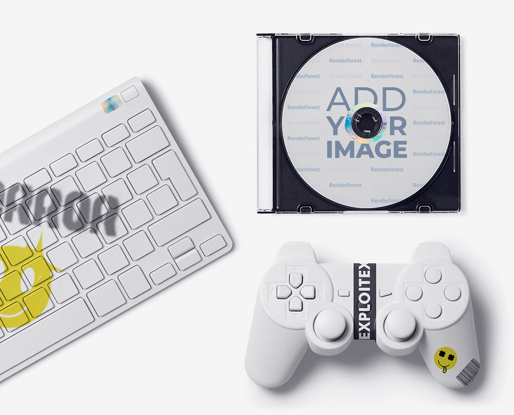 Gaming Controller, a Compact Disc, and a Keyboard