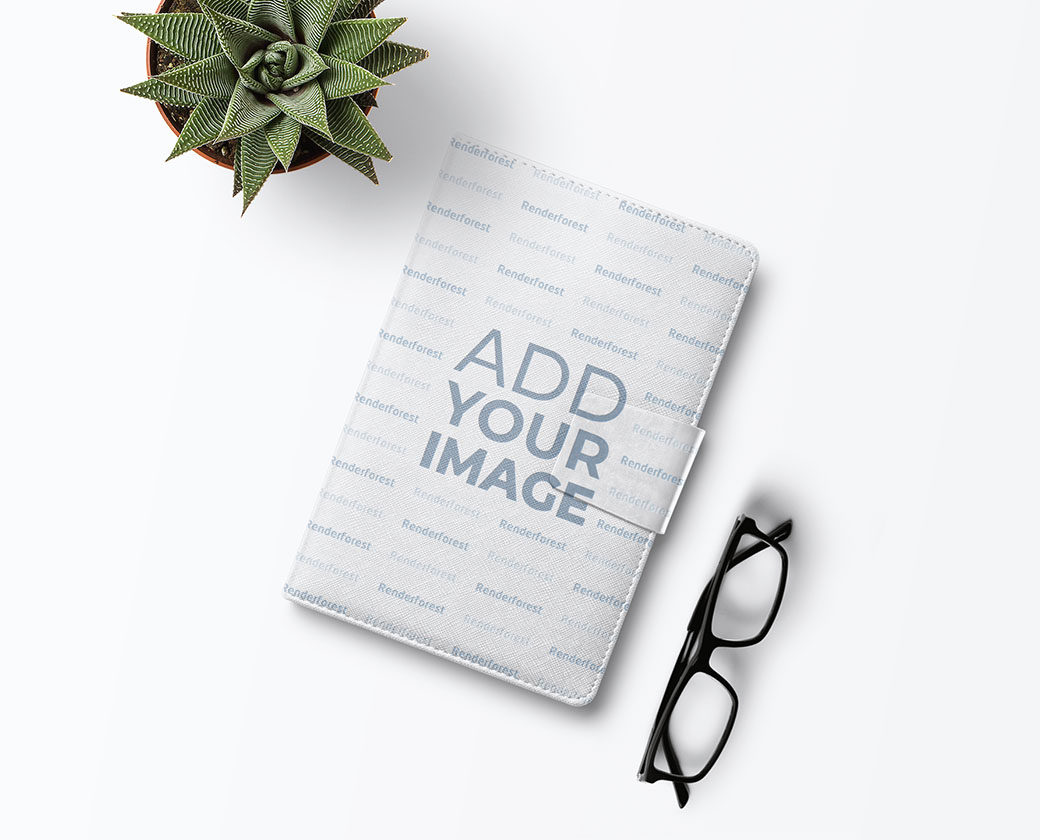 Leather Button Sketchbook with Eyeglasses