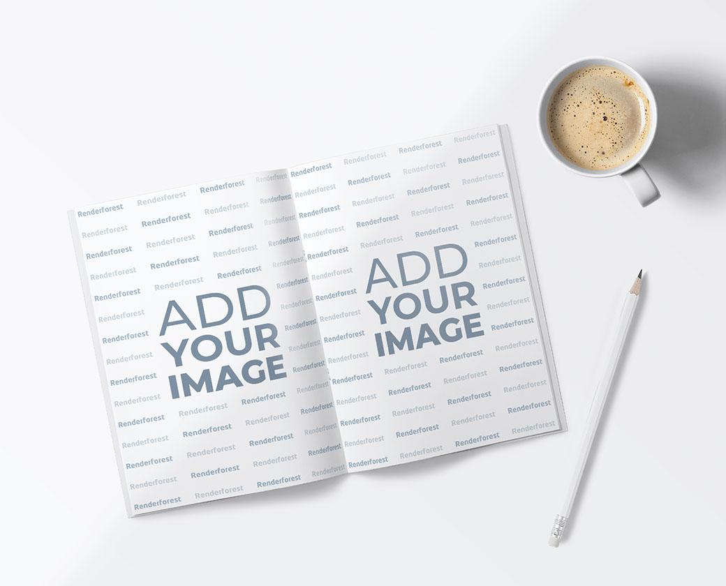 Carnet de croquis ouvert, un crayon et une tasse de café