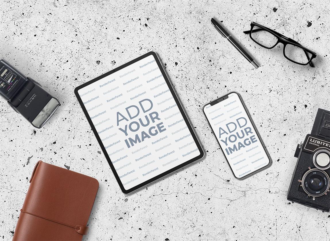 iPad und iPhone mit Fotoausrüstung