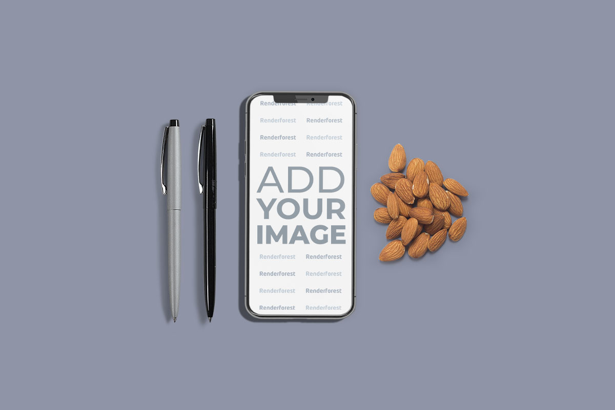 iPhone with Pens and Almonds