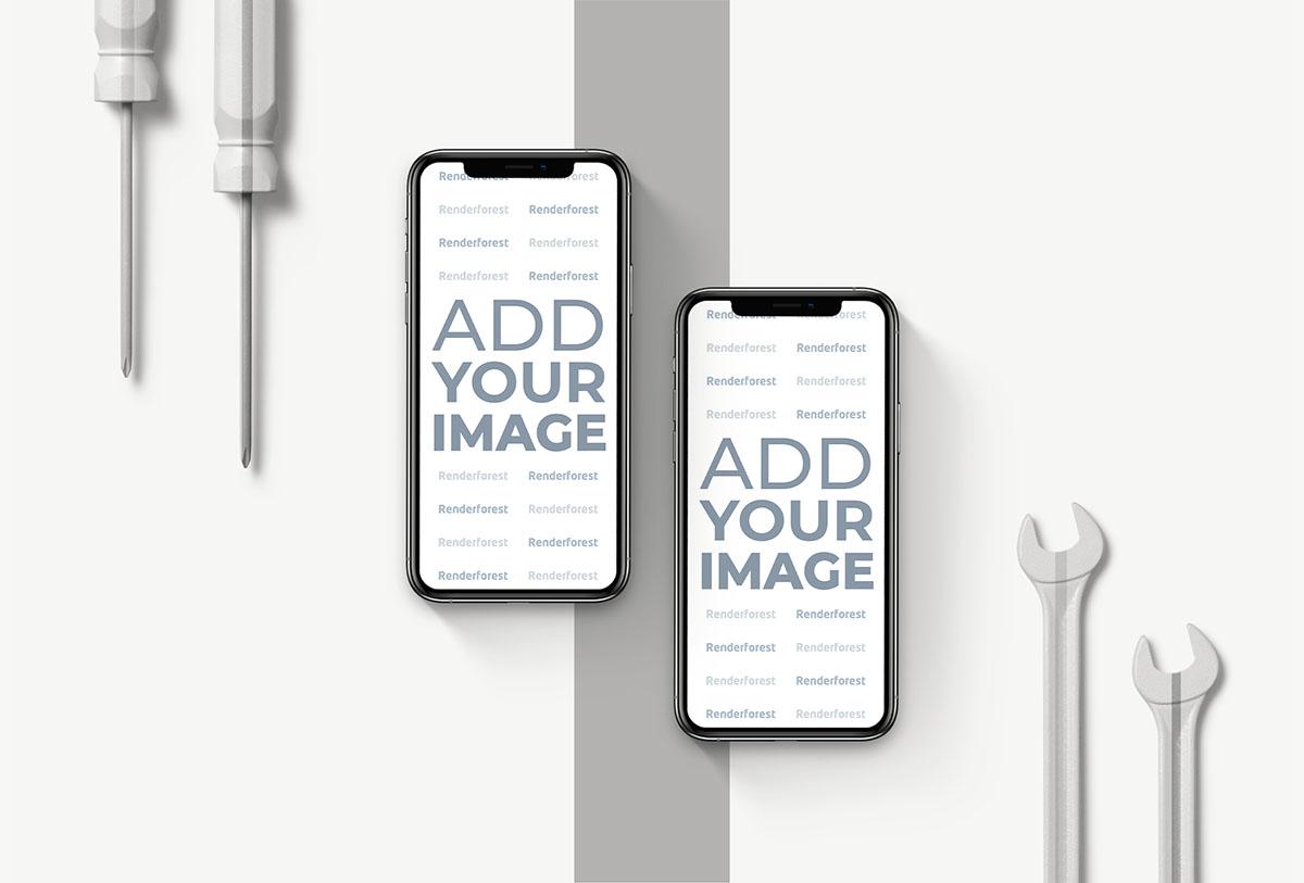 Deux iPhones verticaux avec des outils de réparation