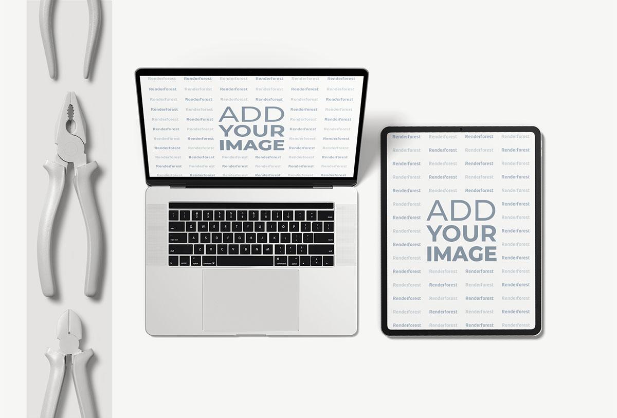 MacBook et iPad Pro avec des outils de réparation