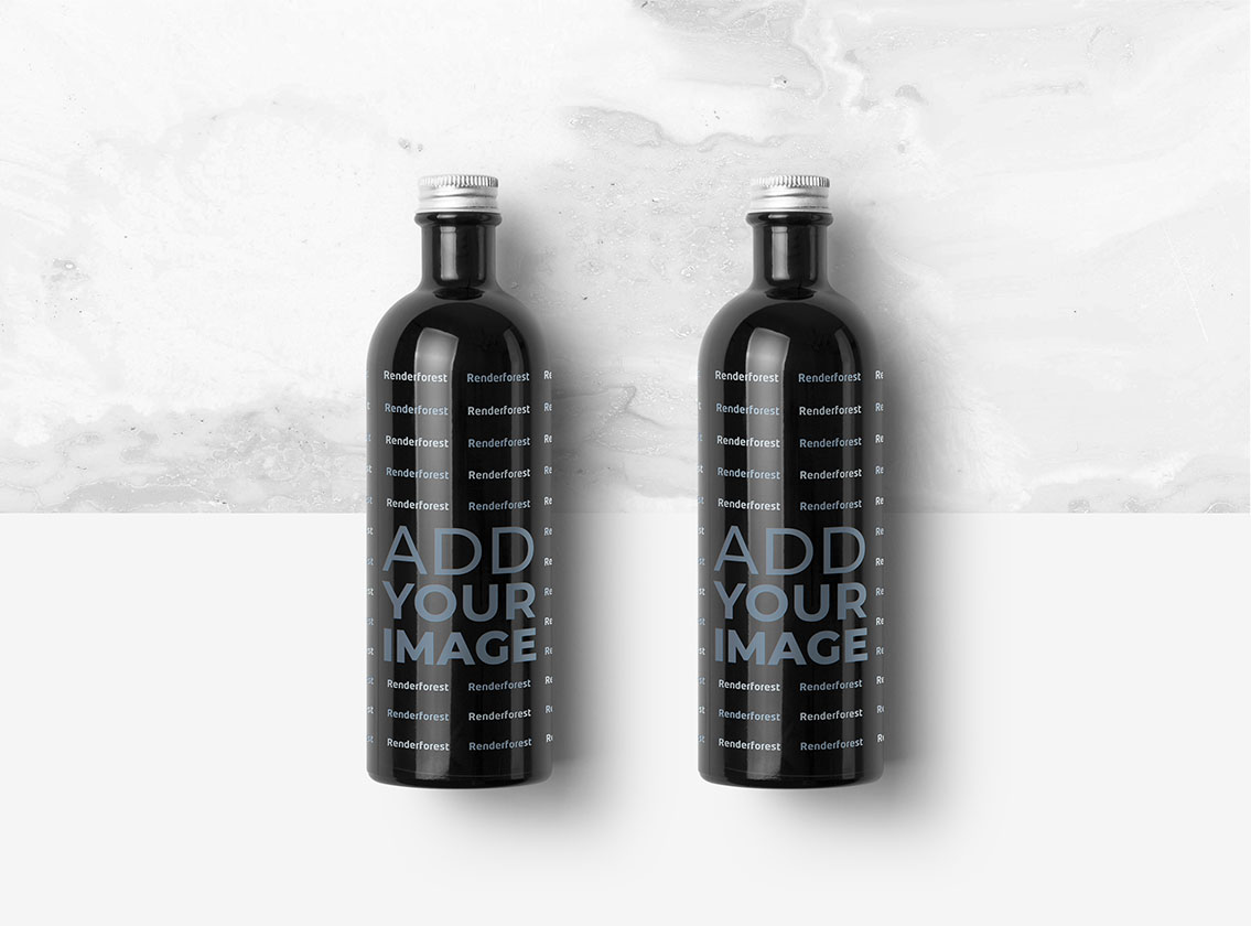 Juice Bottles on a Black and White Background