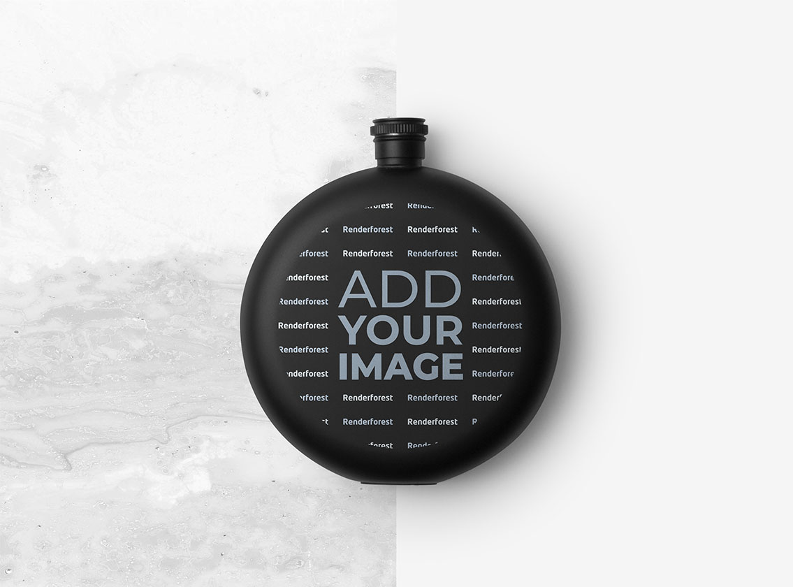 Round Bottle on a Black and White Background