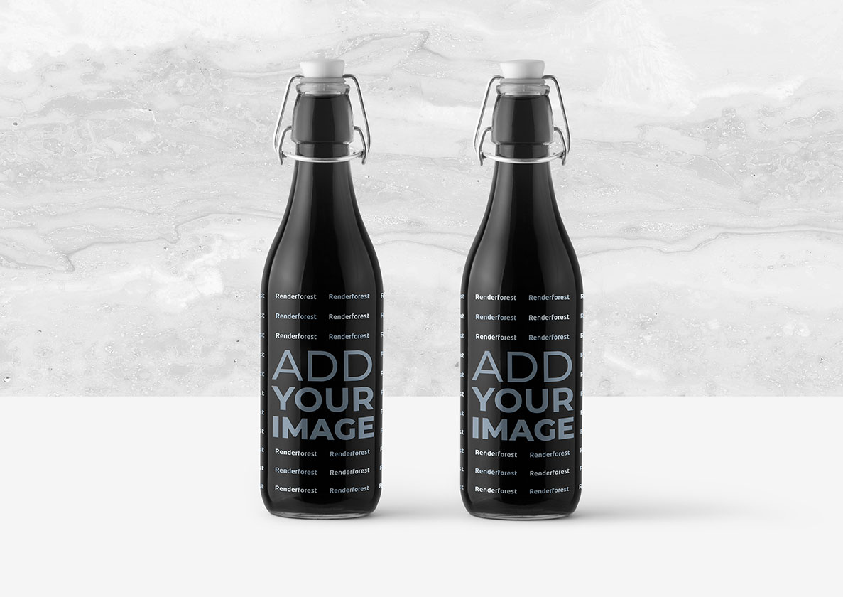 Two Bottles on a Marble Background