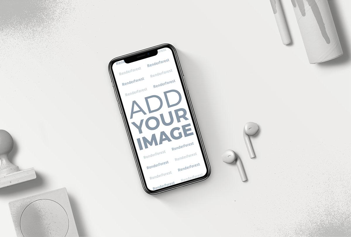 iPhone e AirPods com Artigos de Papelaria