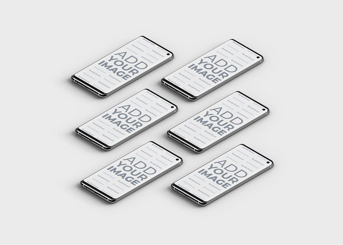 Smartphones Samsung Galaxy S10 isométriques