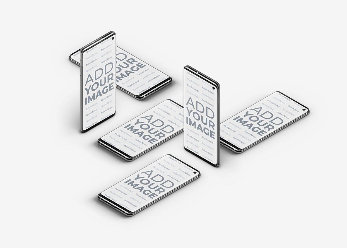 Plusieurs smartphones Galaxy S10 isométriques