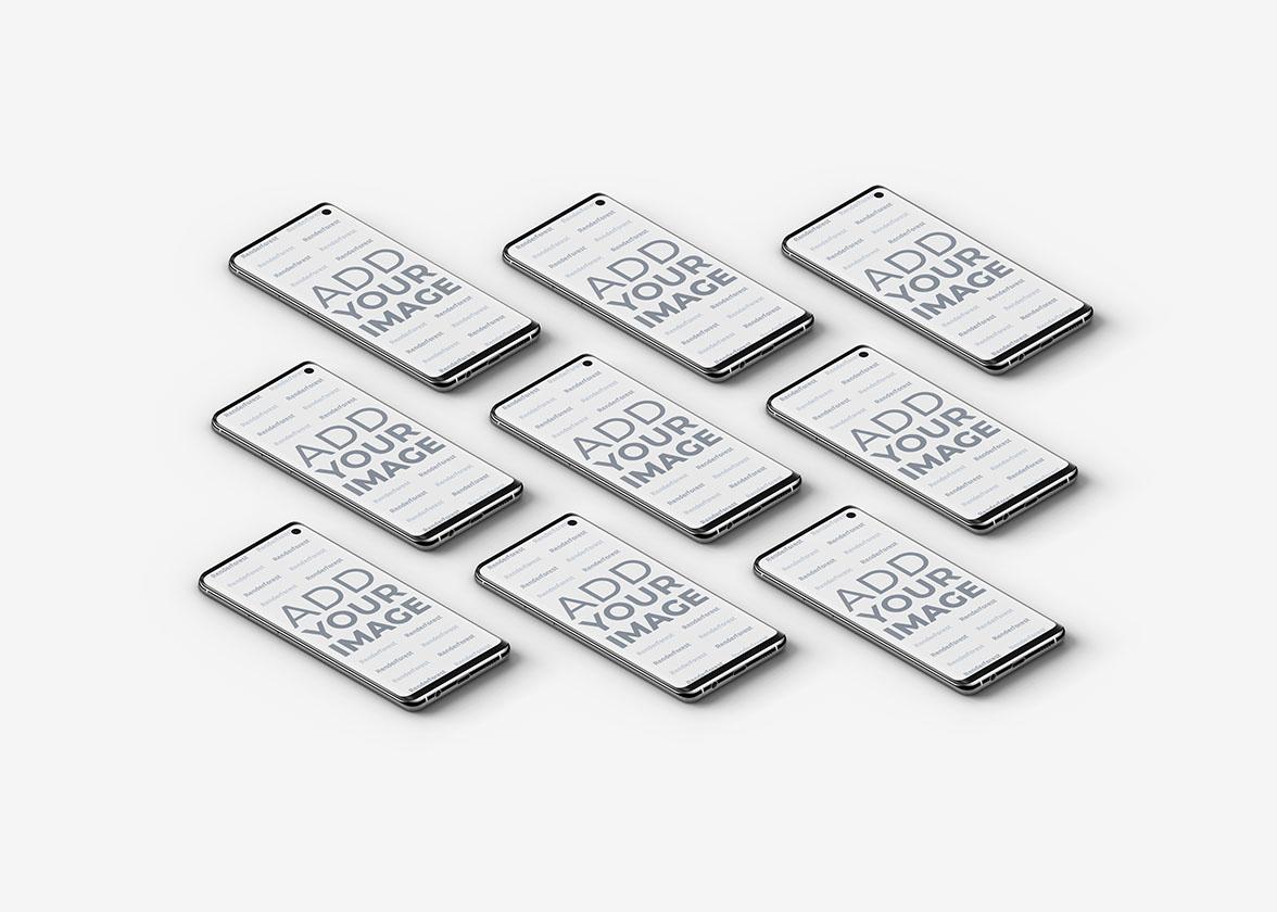 Smartphones Galaxy S10 isométriques