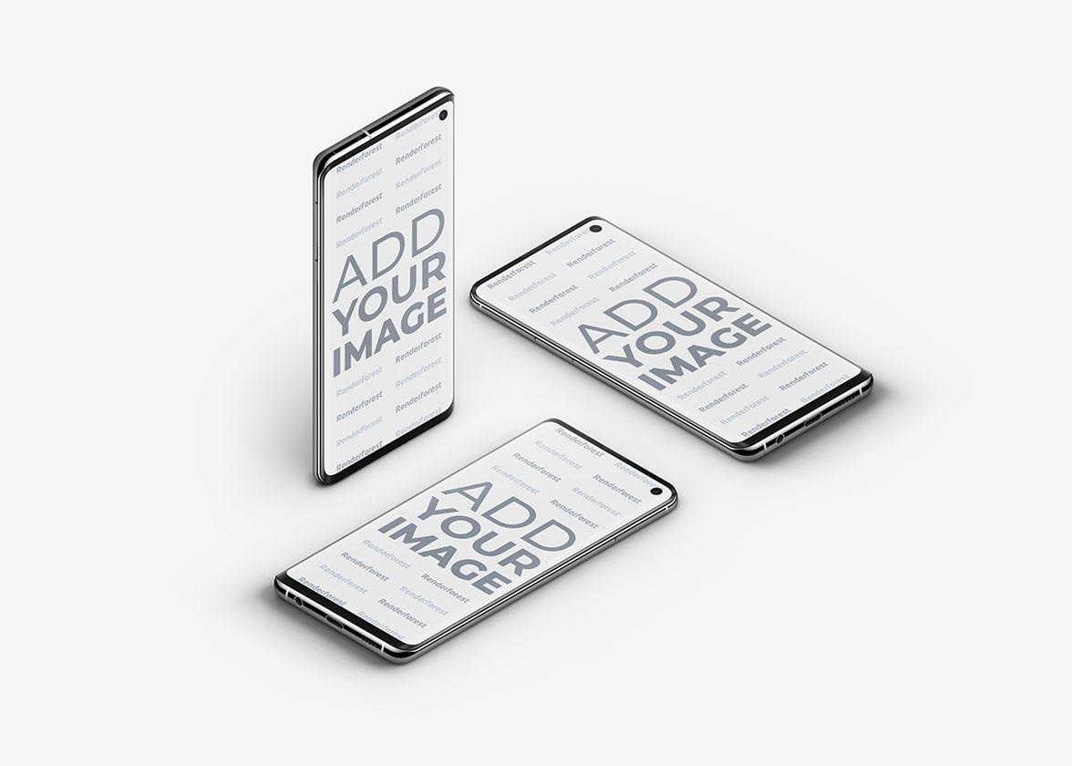 Trois smartphones Samsung Galaxy S10