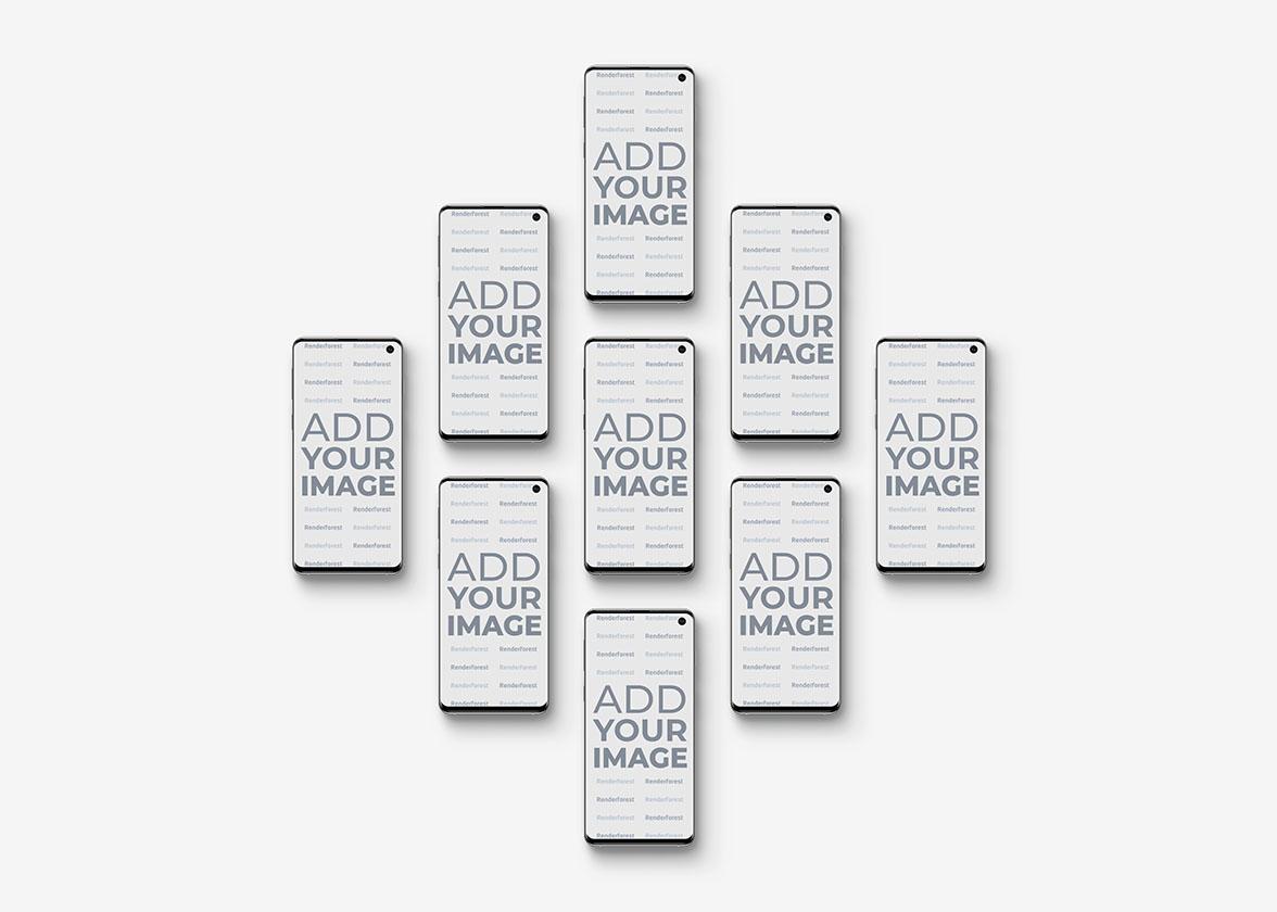 Vue de face des smartphones Galaxy S10 isométriques