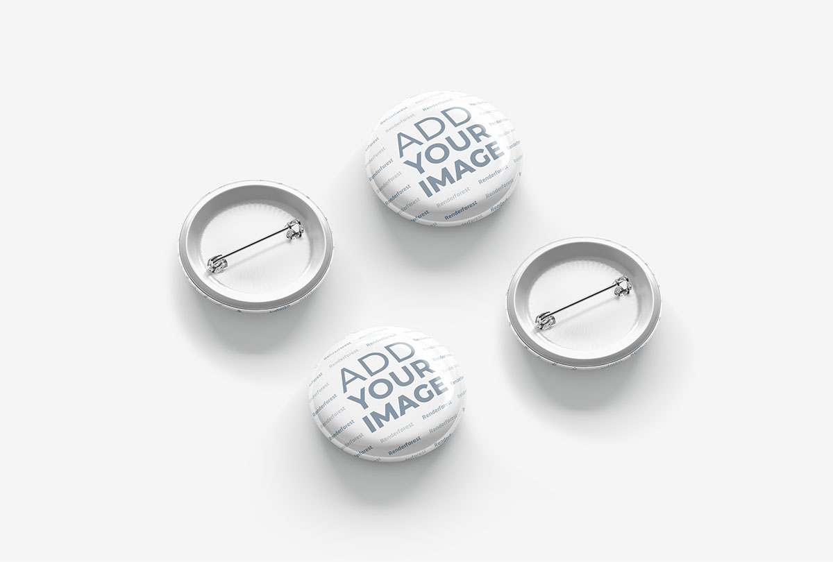 Isometric Button Badges Front and Back