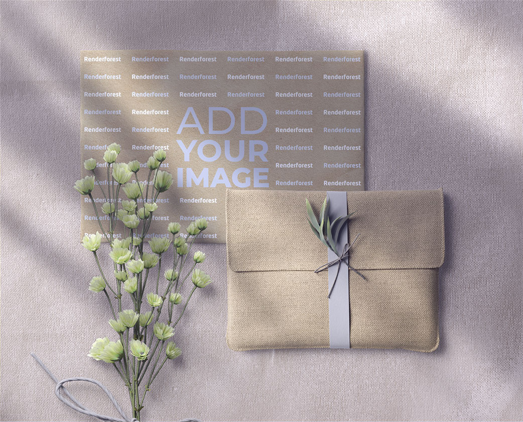 Linen Envelope, a Wedding Card, and a Flower Branch