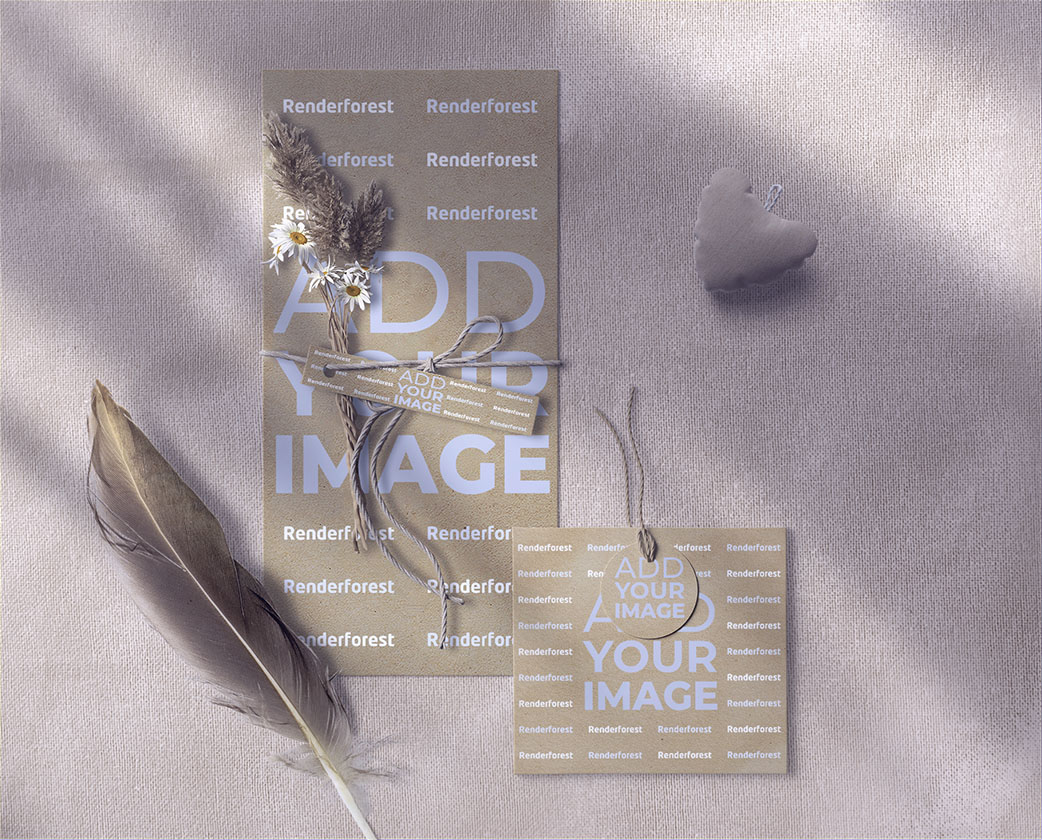 Wedding Leaflet, a Hang tag, and a Feather