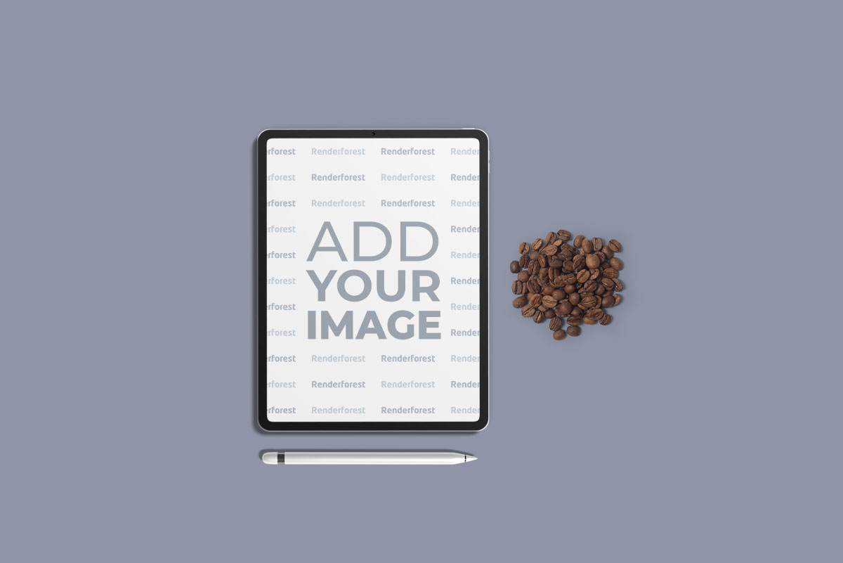 Tablet and Coffee Beans