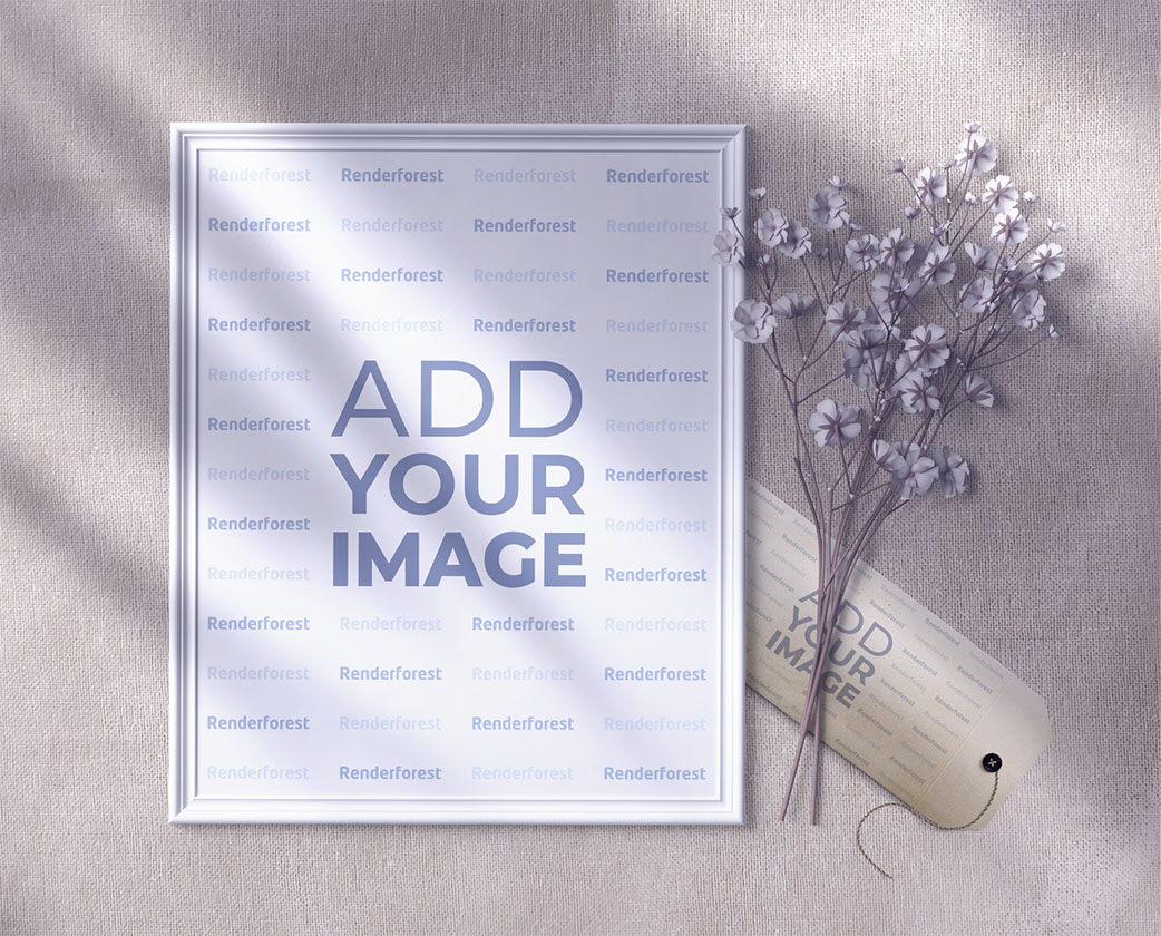 Photo Frame, a Hang Tag, and a Flower Branch