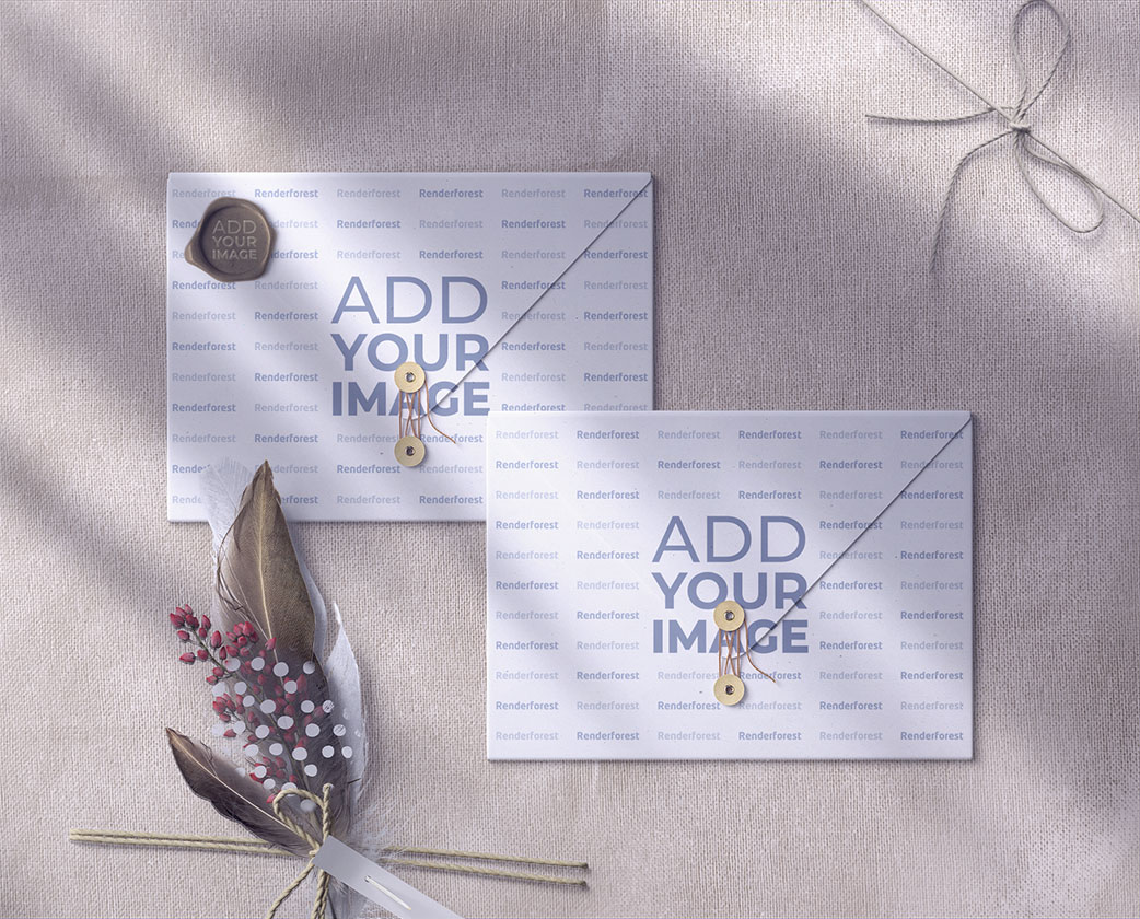 Two Wedding Envelopes with Ornaments