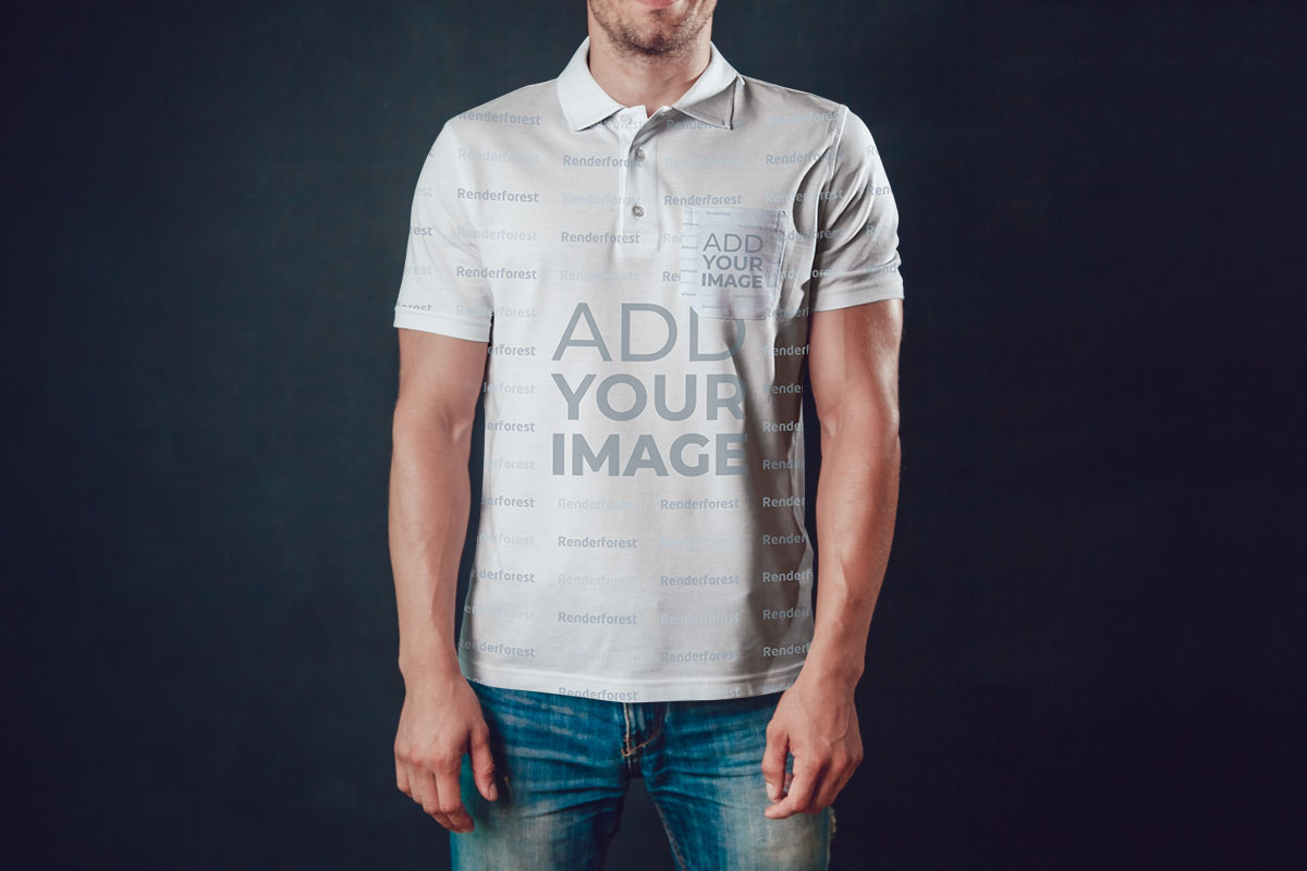 Men's Polo Shirt on a Dark Background
