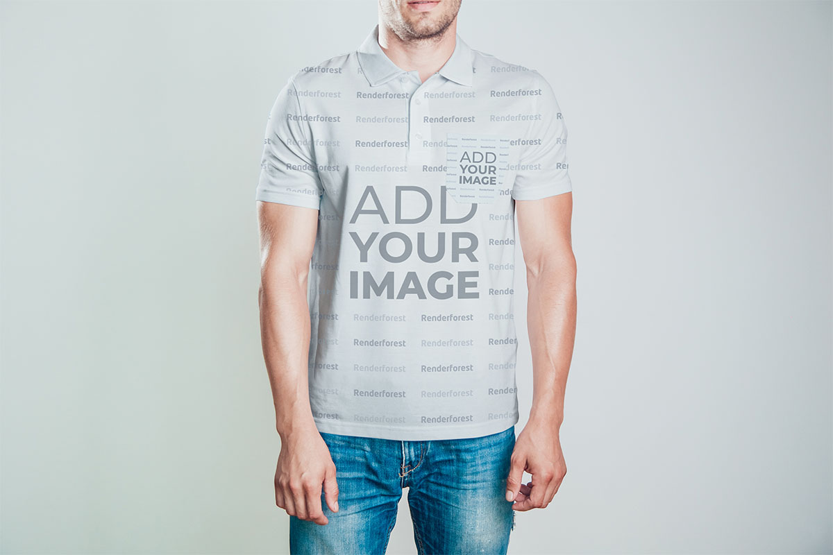 Men's Polo Shirt on a Gray Background