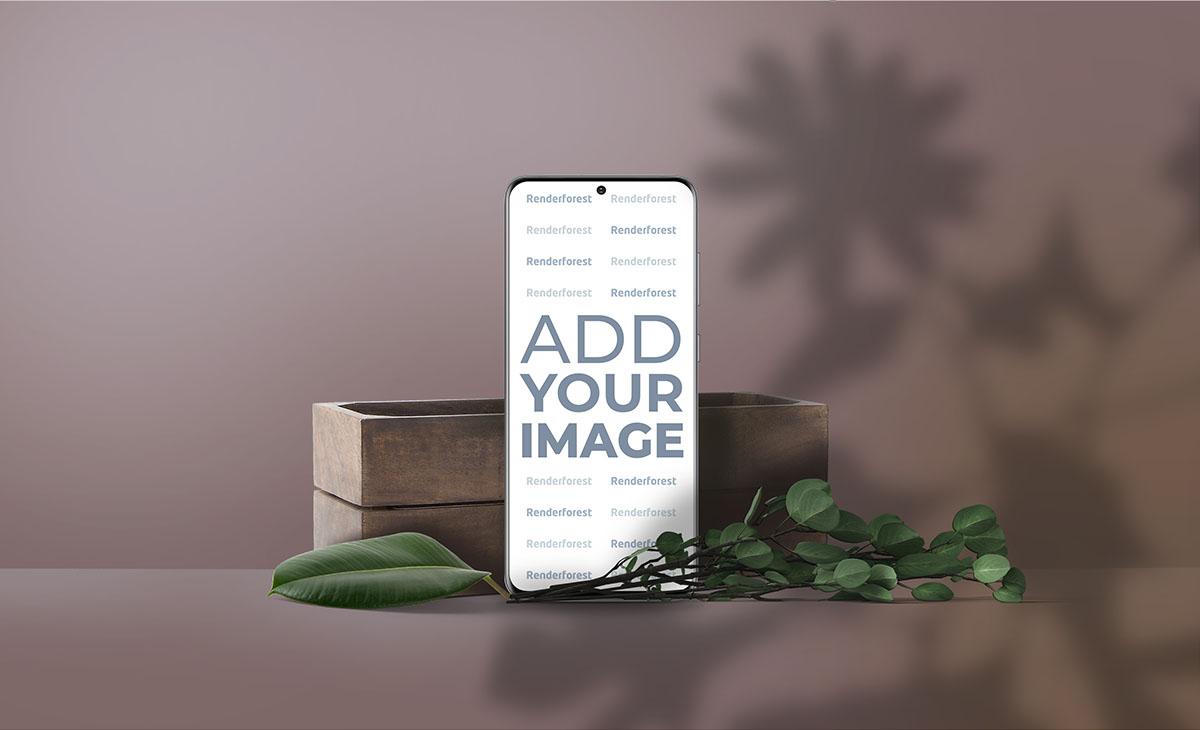 Вертикальный Samsung Galaxy S20 на коричневом фоне с тенями