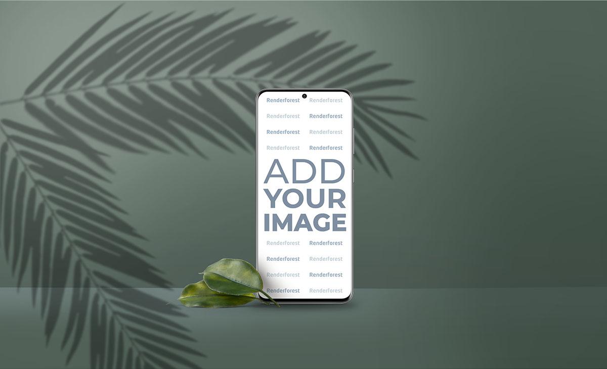 Вертикальный Samsung Galaxy S20 на зеленом фоне с тенями