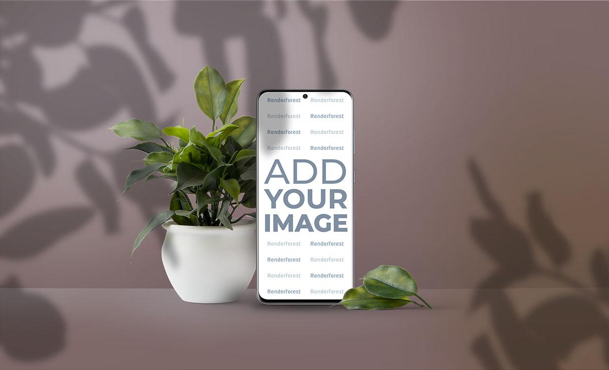 Вертикальный Samsung Galaxy S20, горшок с растением