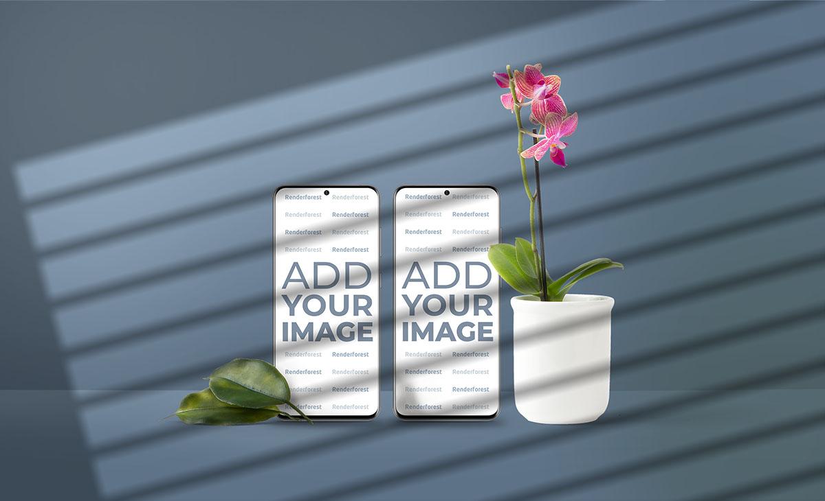 Два смартфона Samsung Galaxy S20, горшок с цветком