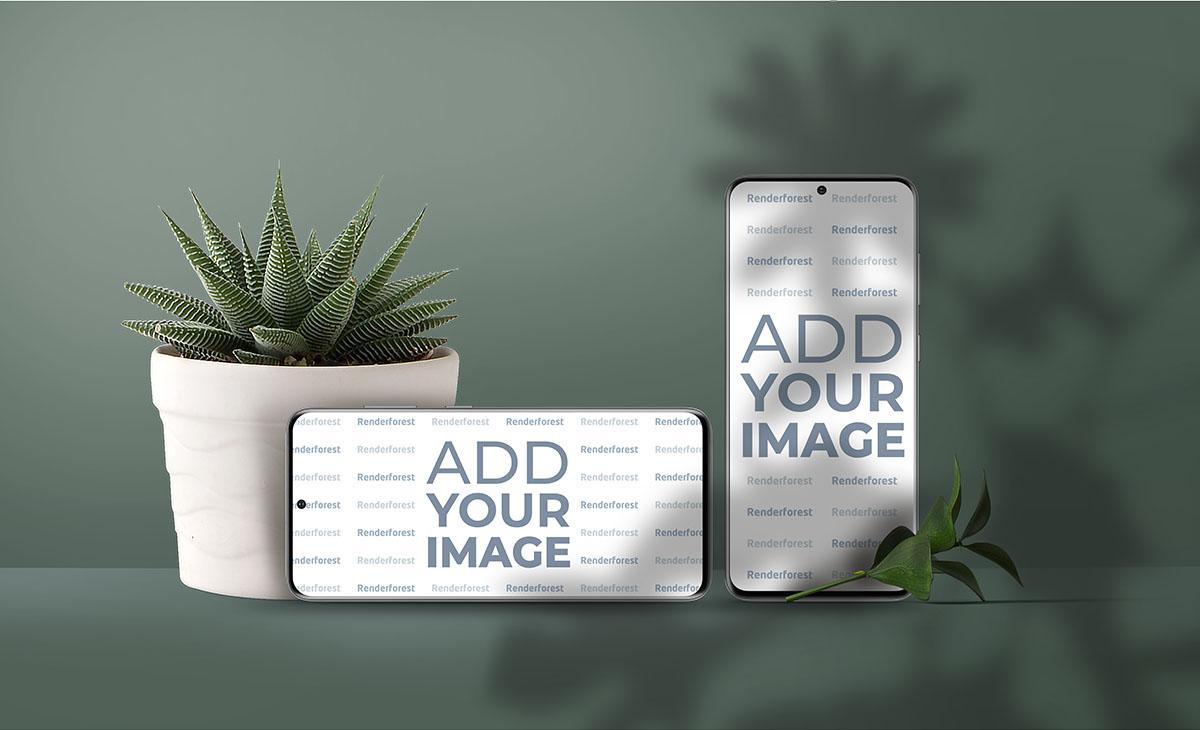 Вертикальный и горизонтальный смартфоны Samsung Galaxy S20