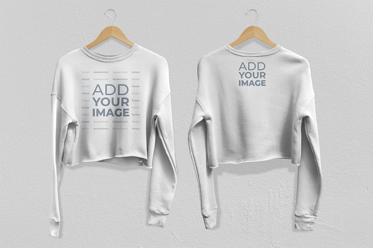 Two White Sweatshirts Front and Back View